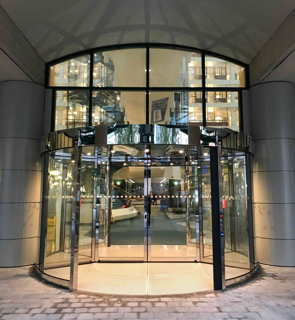 Dor-Contol Craftsmen Install Revolving Door Sick Kids Hospital, Toronto, ON