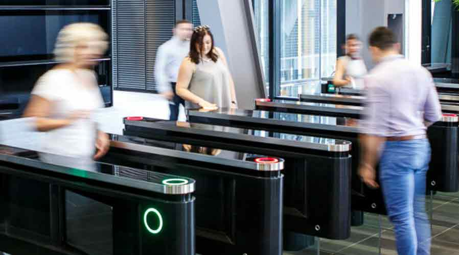Dor-Control Craftsmen Install Optical Turnstiles at Corporate Headquarters