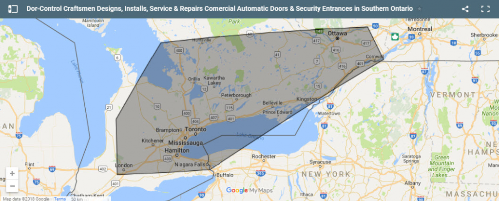 Dor-Control Craftsmen Designs Installs Repairs Commercial Automatic Doors Security Entrances Southern Ontario