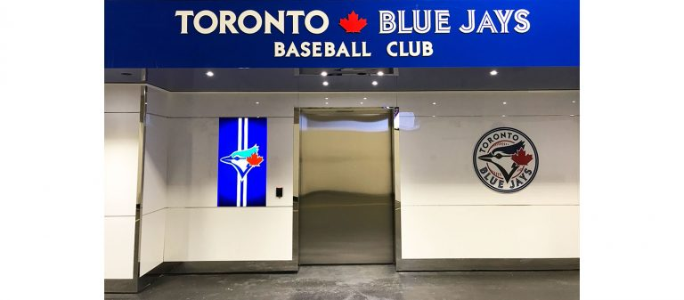 Dor-Control Craftsmen Installed Automatic Sliding Doors Toronto Blue Jays Clubhouse Entrance